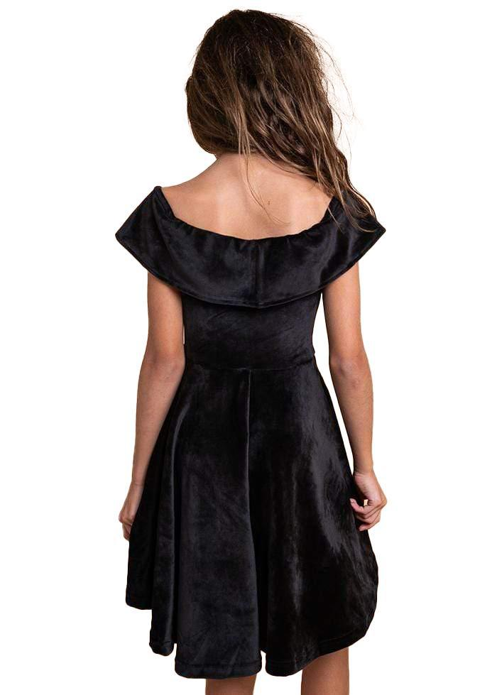 Girls Black Velvet Off-Shoulder High-Low Party Dress-TeenzShop