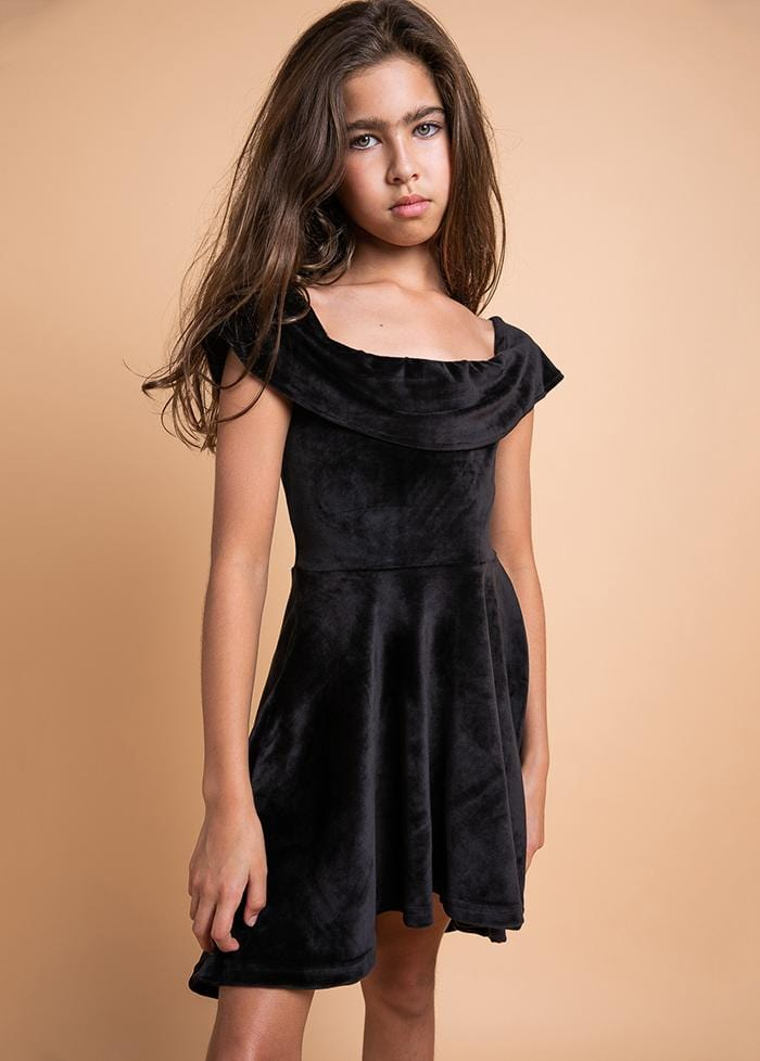 TeenzShop Youth Girls Black Velvet Off-Shoulder High-Low Party Dress-SUSTAINABLE FABRIC