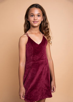 TeenzShop Youth Girls Burgundy V-Neck Skater Dress - SUSTAINABLE FABRIC