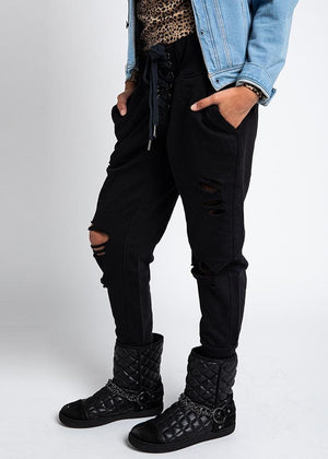 TeenzShop Black Winter Biker Boots With Faux Fur Lining