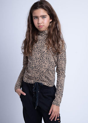 TeenzShop Youth Girls Ribbed Leopard Turtle Neck - SUSTAINABLE FABRIC