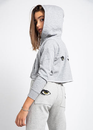 Teenzshop Youth Girls Grey Cropped Zip-up Hoodie With Wink Eyes Back