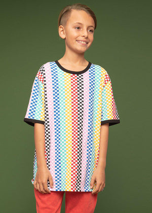 Youth Boys Short Sleeve Multi Colour Checkered T-Shirt - SUSTAINABLE FABRIC