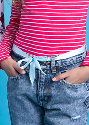 Blue Satin ribbon shoelace Belt-TeenzShop