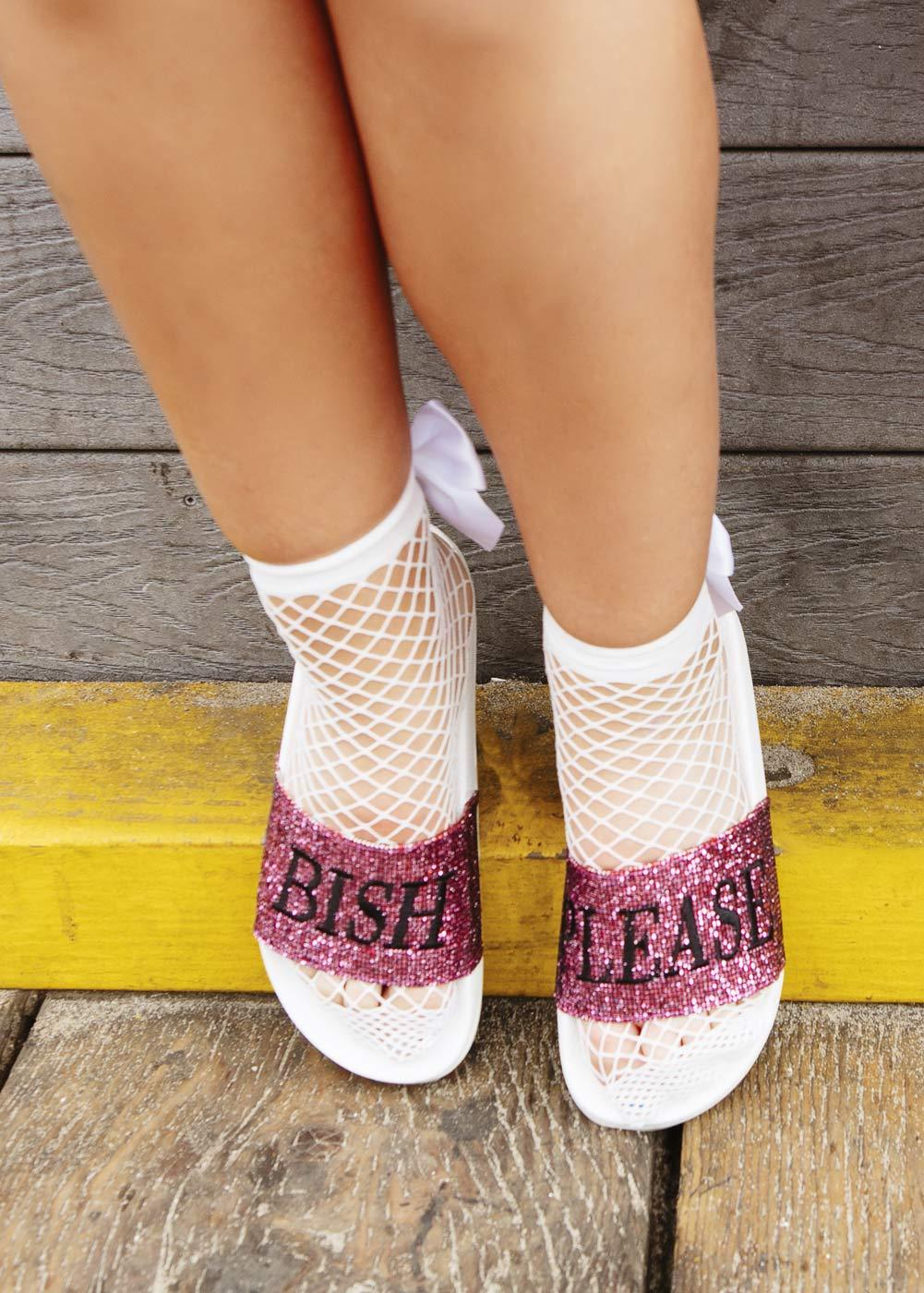 Fishnet White Ankle Socks With Bow Front
