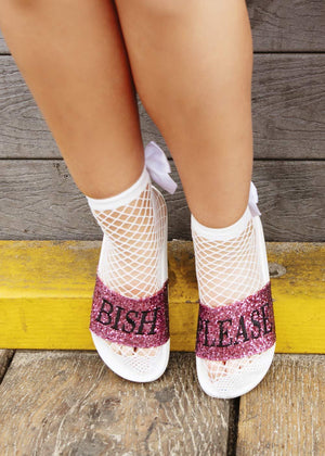 TeenzShop Fishnet White Ankle Socks With Bow