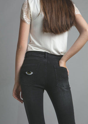 Teenzshop Youth Girls Black Skinny Jeans with Embroidered Eyes Pockets
