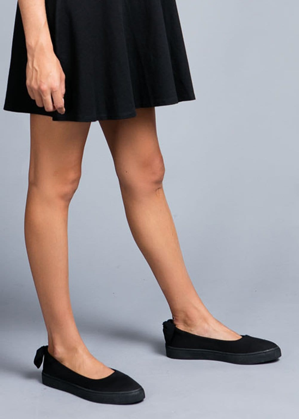 Girls Black Slip-On Shoes - Model Side