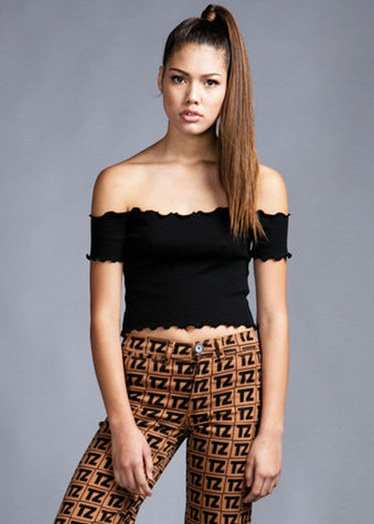 Girls Black Ribbed Crop Top- Model Front