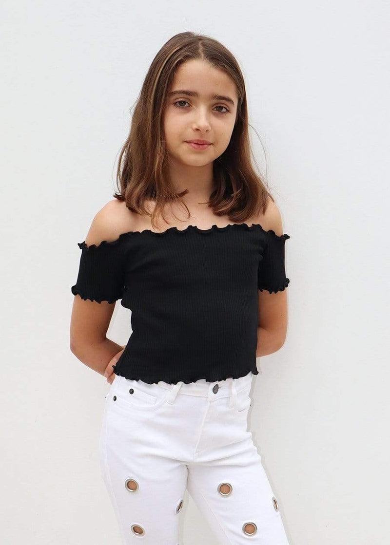 Girls Twin Pack Bardot Top Black/Red