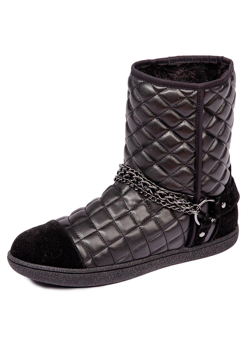 Girls Black Winter Biker Boots With Faux Fur Lining-TeenzShop
