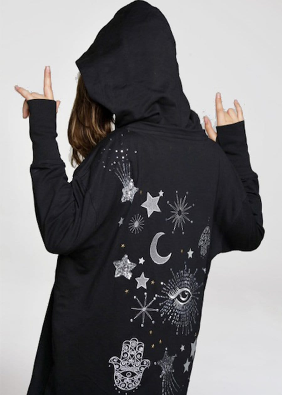 Youth Girls Silver Sequin Galactic Embellished Hoodie Model Back