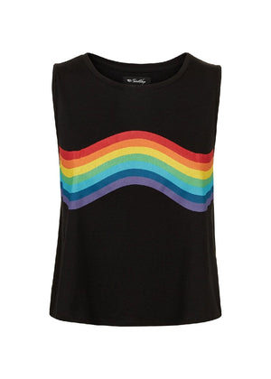 Teenzshop Youth Girls Black Rainbow Tank Top