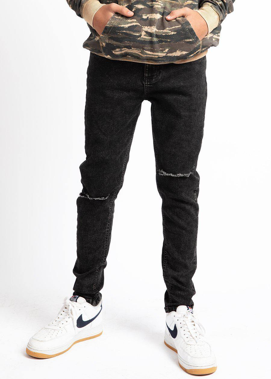 Youth Boys Black Ripped Jeans