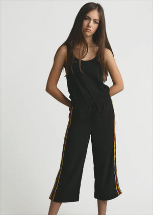 Girls Black Cropped Trousers With Side Snaps-TeenzShop