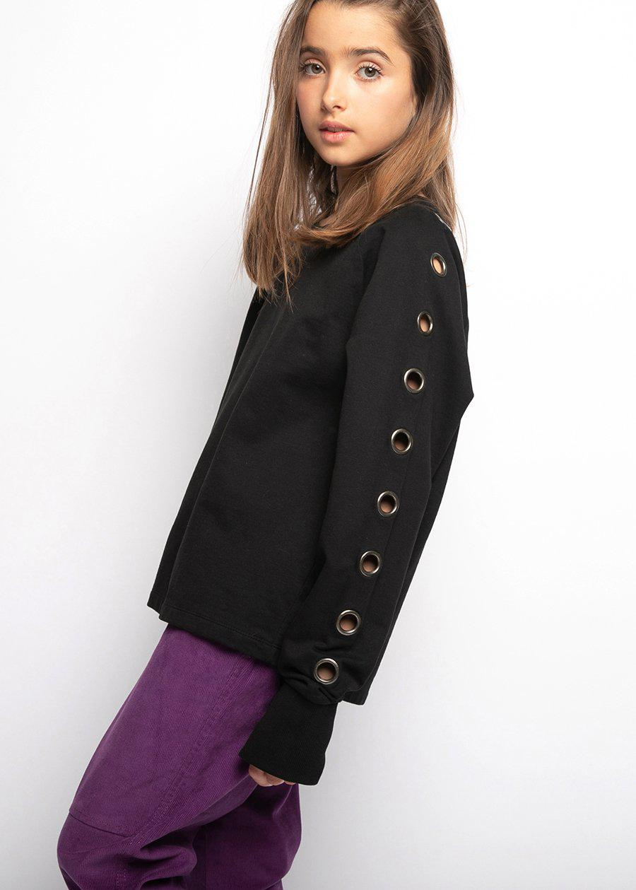 Youth Girls Black Sweatshirt With Eyelets
