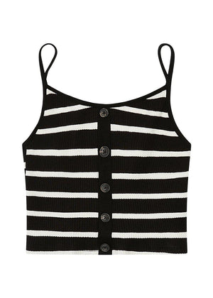 Girls Black and White Striped Knit Top-TeenzShop