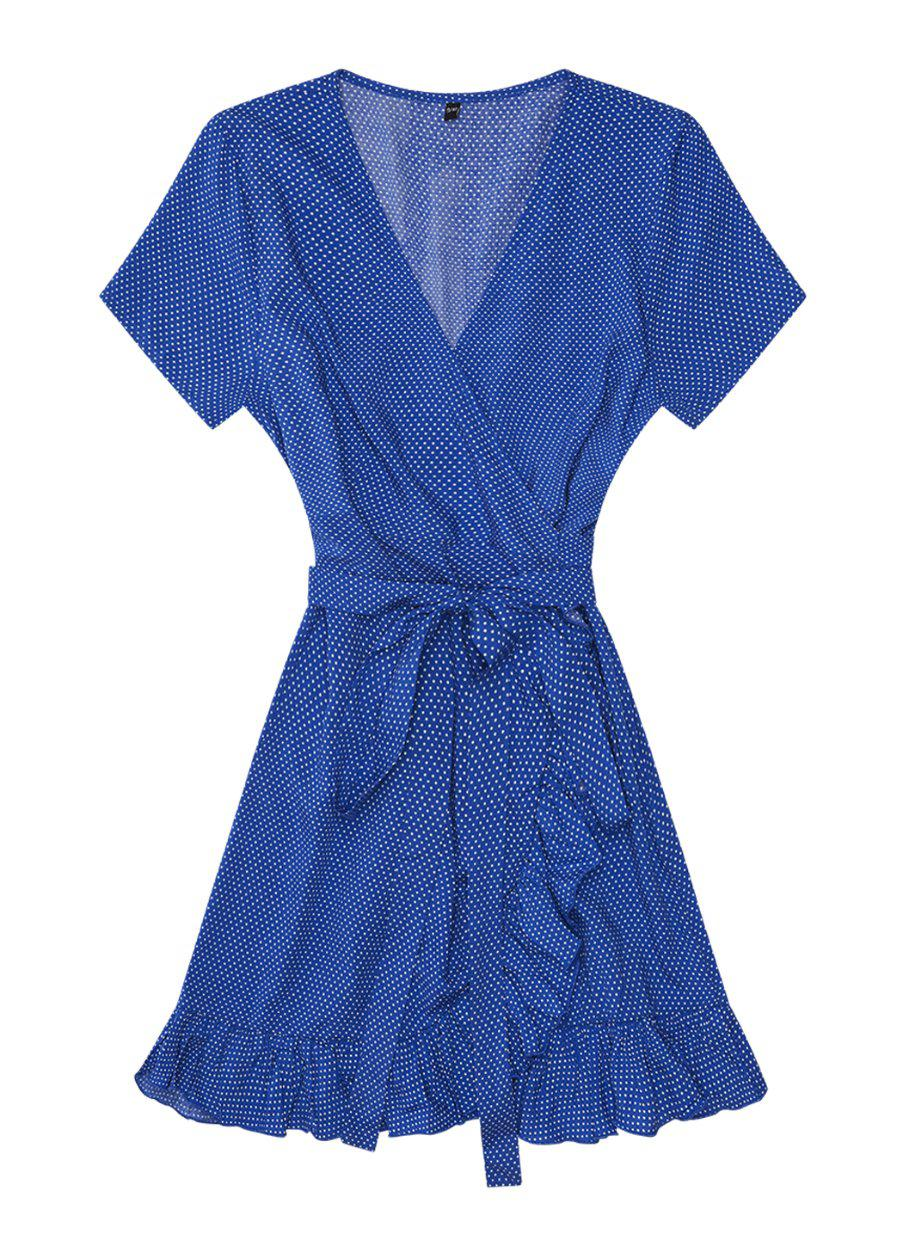 Blue Polka Wrap Frill Dress