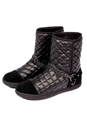 Black Winter Biker Boots With Faux Fur Lining