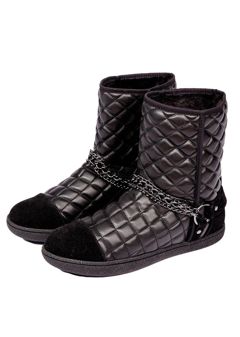 Winter Biker Boots With Faux Fur Lining - Black - Side