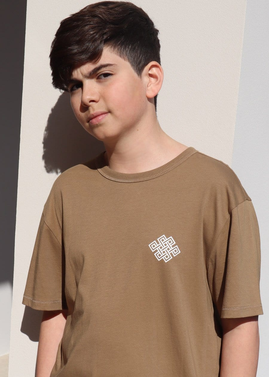 TeenzShop Youth Boys Brown Eternal Knot Graphic T-shirt