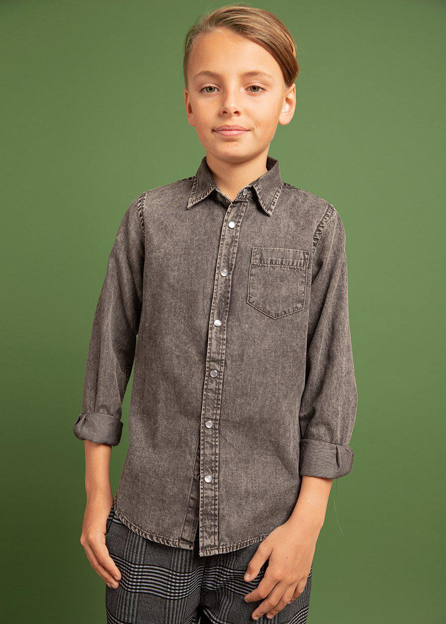 Youth Boys Long Sleeve Grey Denim Shirt- SUSTAINABLE FABRIC