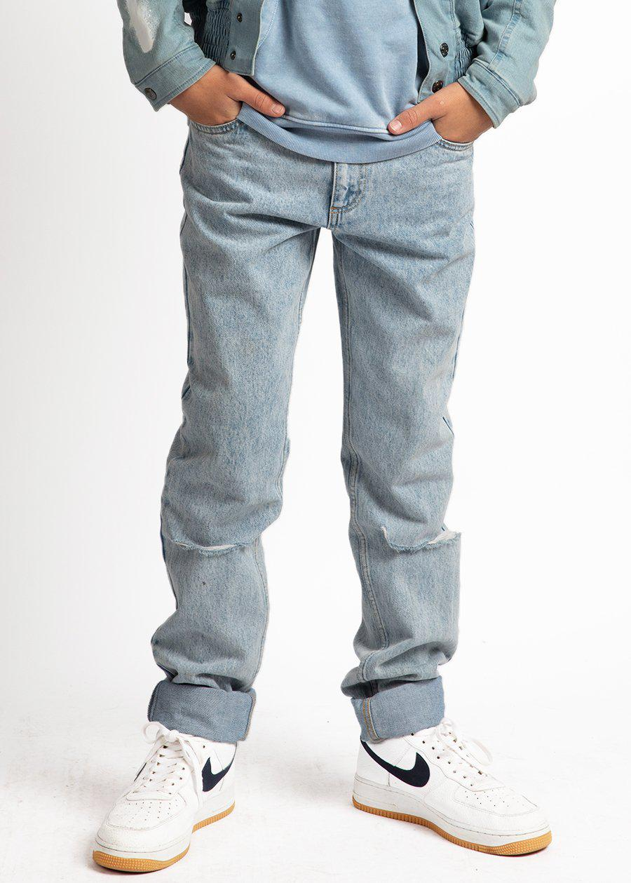 Youth Boys Cotton Light Blue Relaxed Fit Jeans