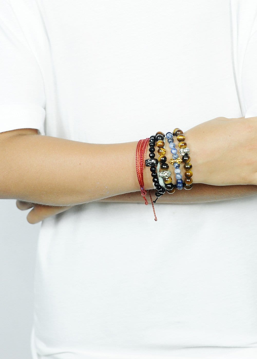 boys black bead bracelet - Model