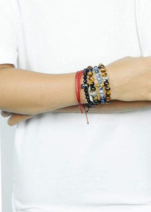 boys blue lapis bracelet-model