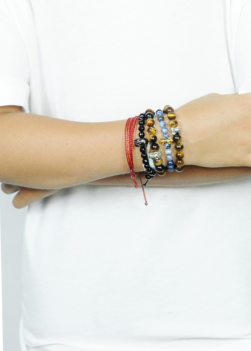 Boys Tiger's eye skull bracelet-Model