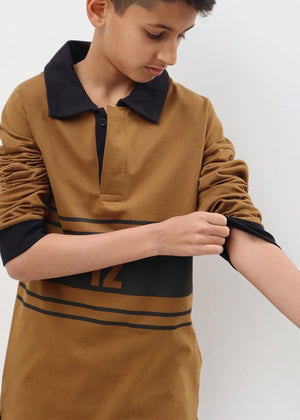 TeenzShop Youth Boys Olive Long Sleeve Retro Polo Shirt