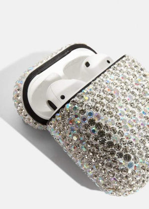 TeenzShop CRYSTAL AIRPOD CASE WHITE