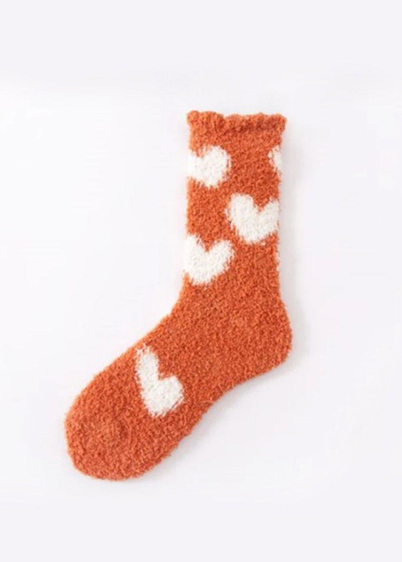 Cosy Hearts Rust Slipper Socks-TeenzShop