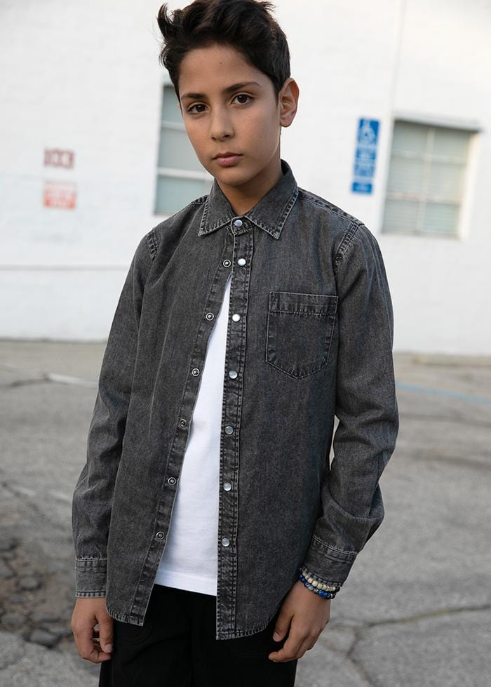 Boys Long Sleeve Grey Denim Shirt-TeenzShop