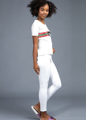 Teenzshop Youth Girls White Skinny Jeans with Embroidered Eyes Pockets