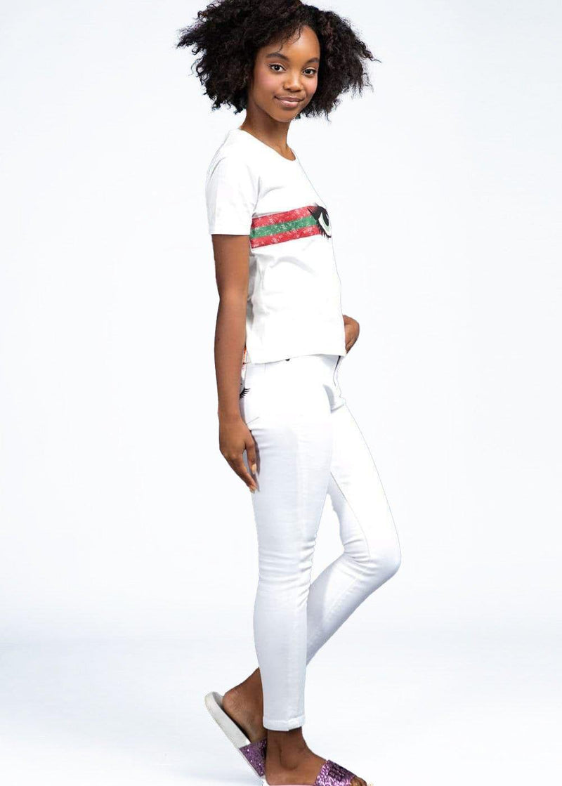 Girls White Skinny Jeans with Embroidered Eyes Pockets