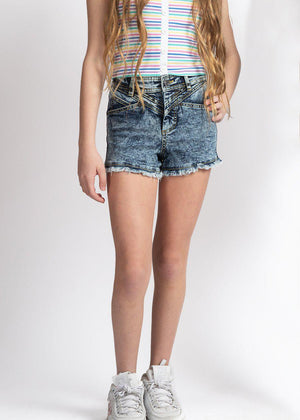 Girls Blue Stonewash Retro Denim Shorts-TeenzShop