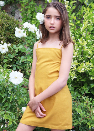 TeenzShop Youth Girls 80's Gold Tie Back Dress-SUSTAINABLE FABRIC
