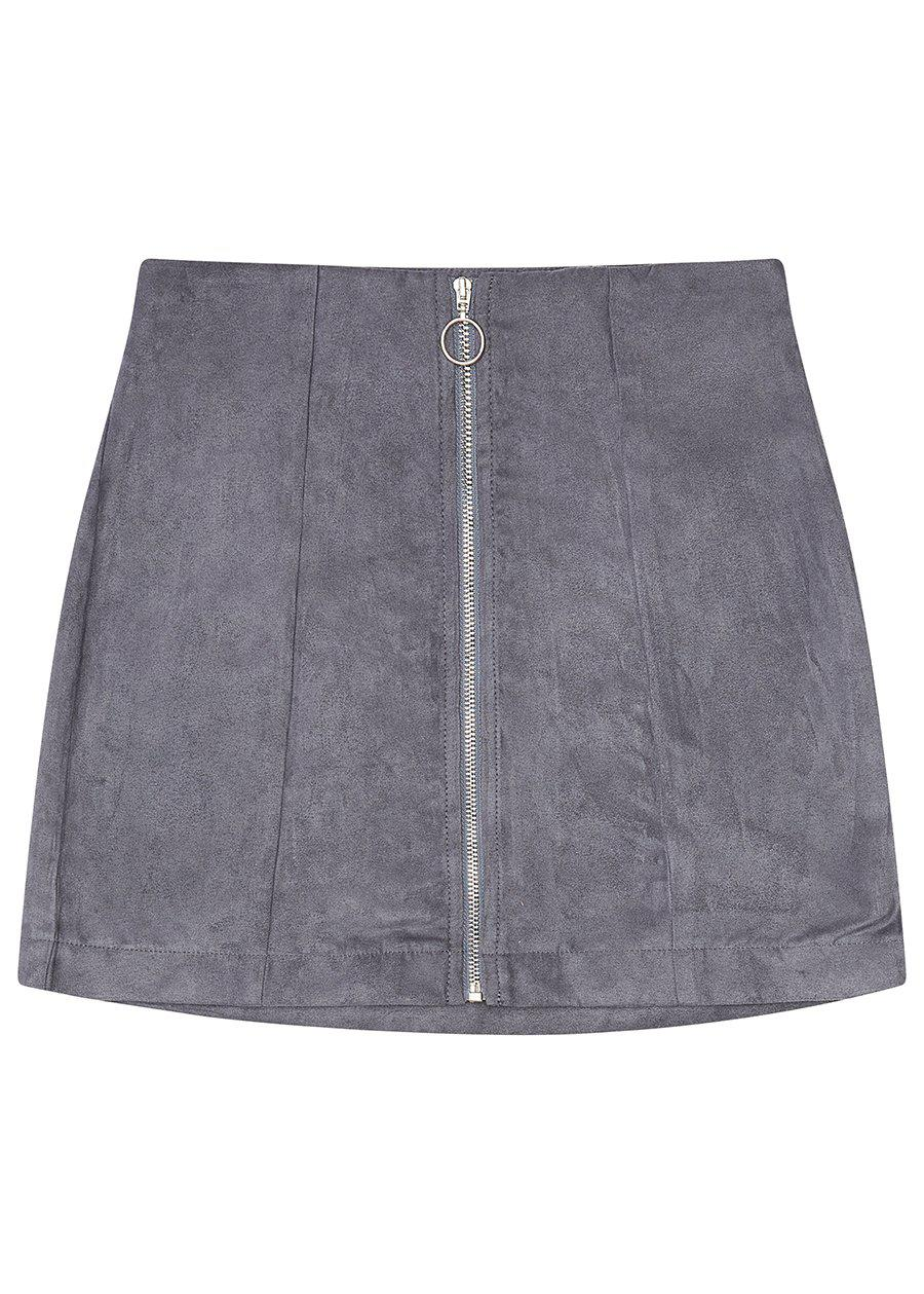 Grey Suede Zipper Skirt