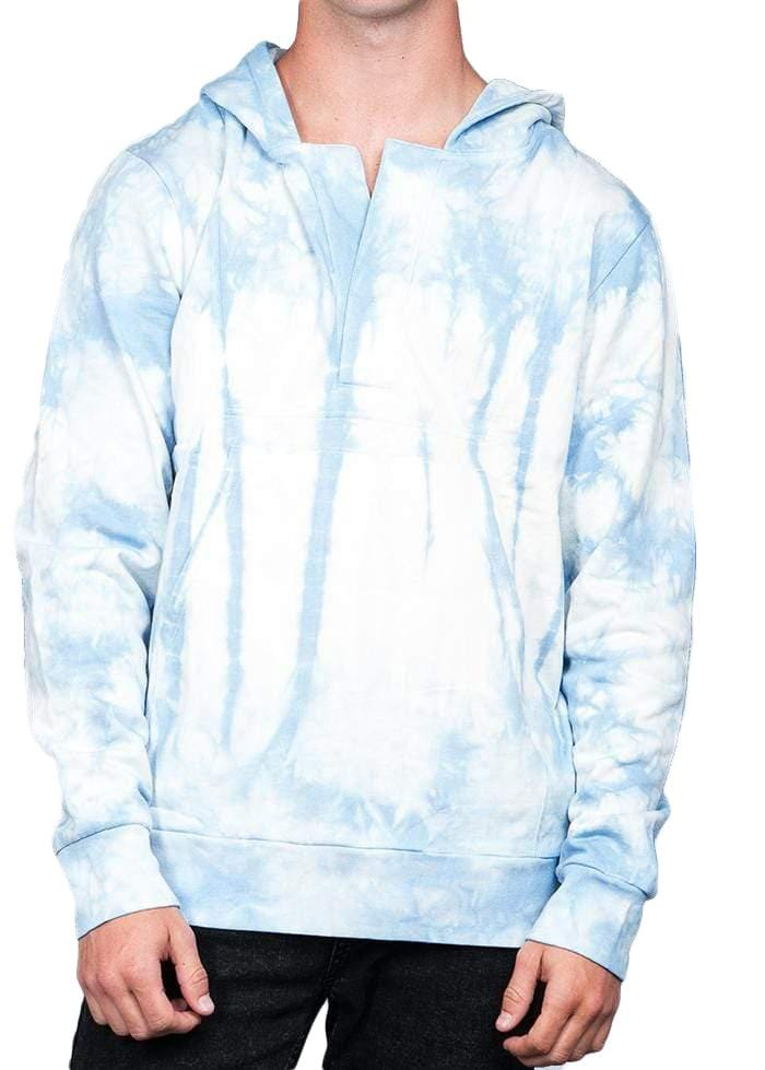TeenzShop Youth Boys Blue Tie Dye Open-Neck Hoodie