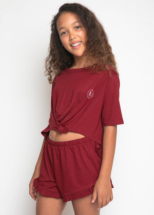 Girls Burgundy Pyjama Shorts Set