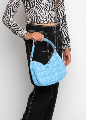 Blue Ruched Nylon Shoulder Bags