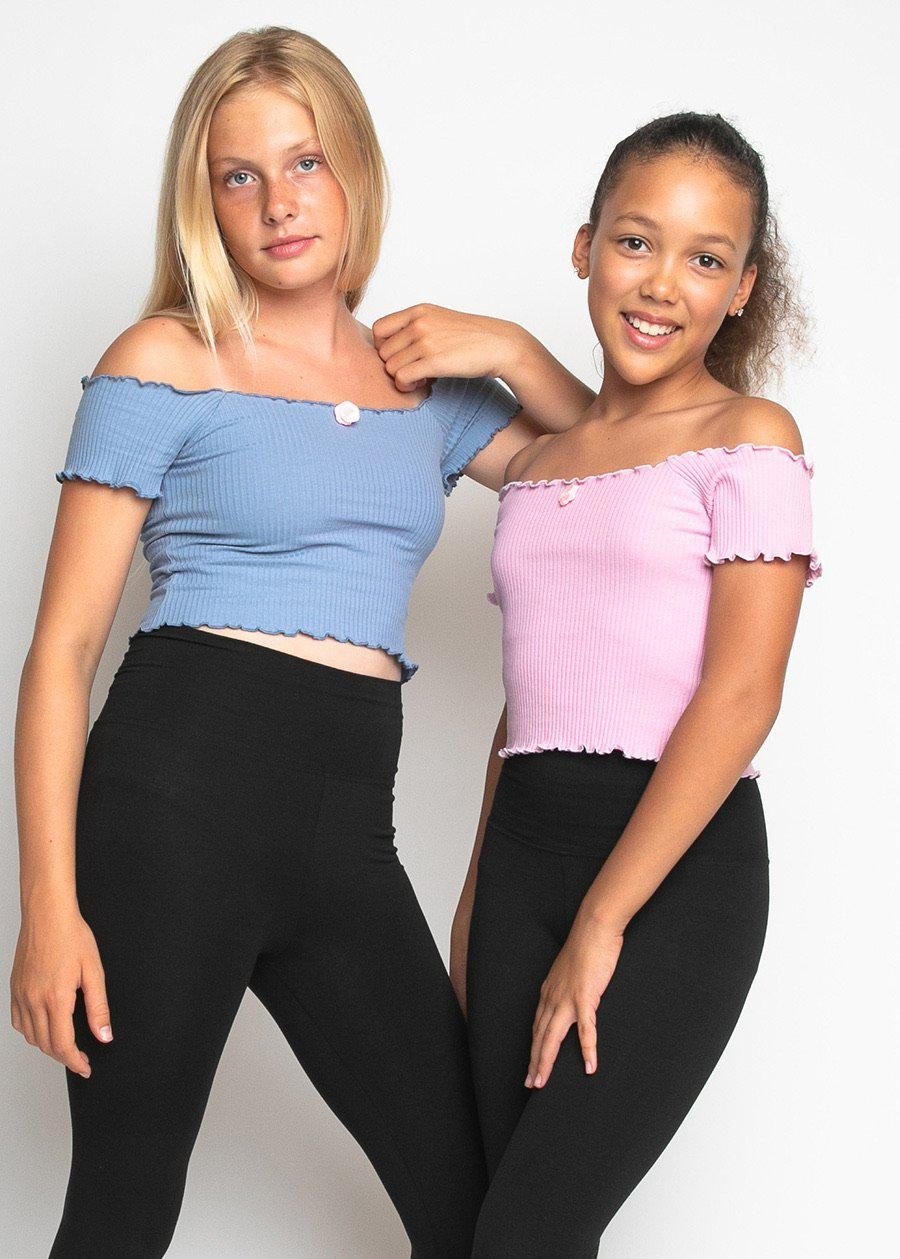 Girls Twin Pack Bardot Top Lilac/Blue-TeenzShop