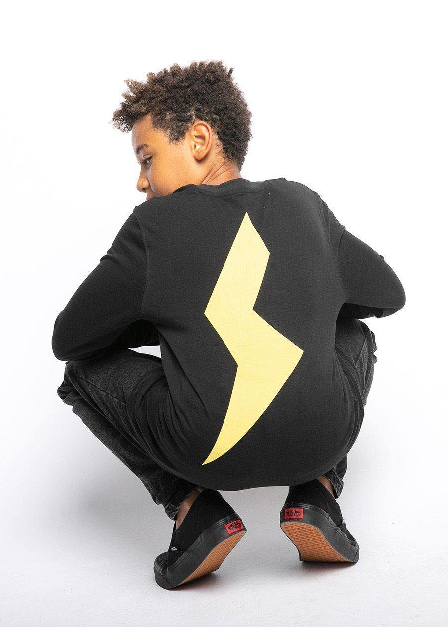 Boys Black Long Sleeve Yellow Thunderbolt T-Shirt-TeenzShop