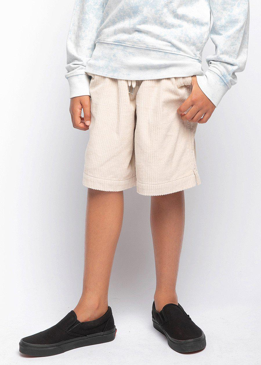 Boys Cream Corduroy Rib Shorts-TeenzShop