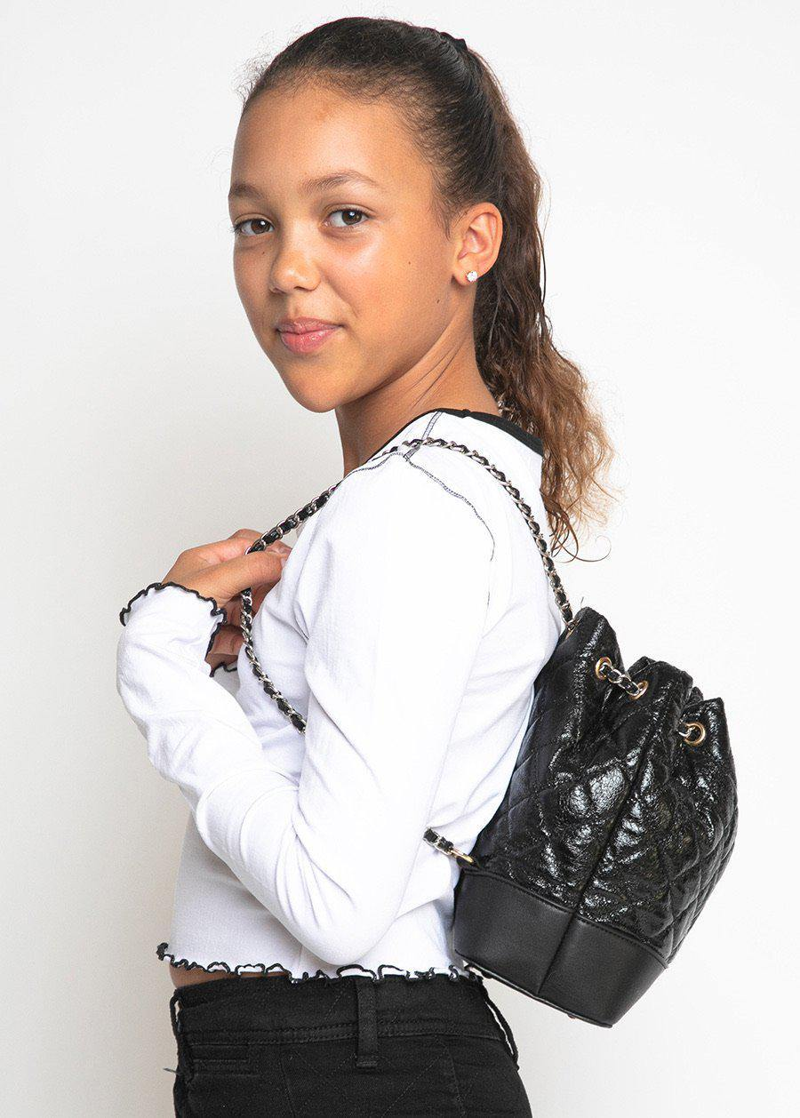 Black Quilted Faux Leather Mini Backpack With Chain Straps-TeenzShop