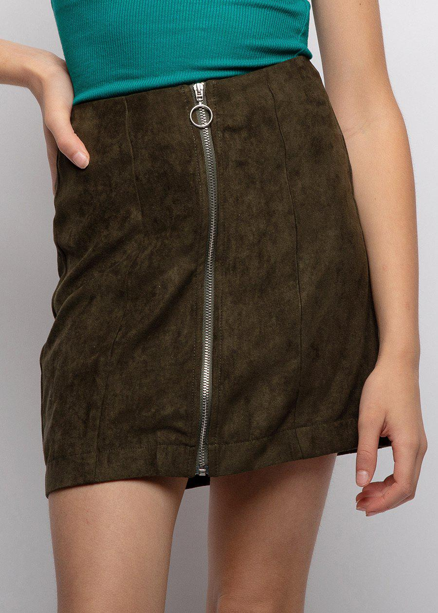 Olive Green Suede Zipper Skirt