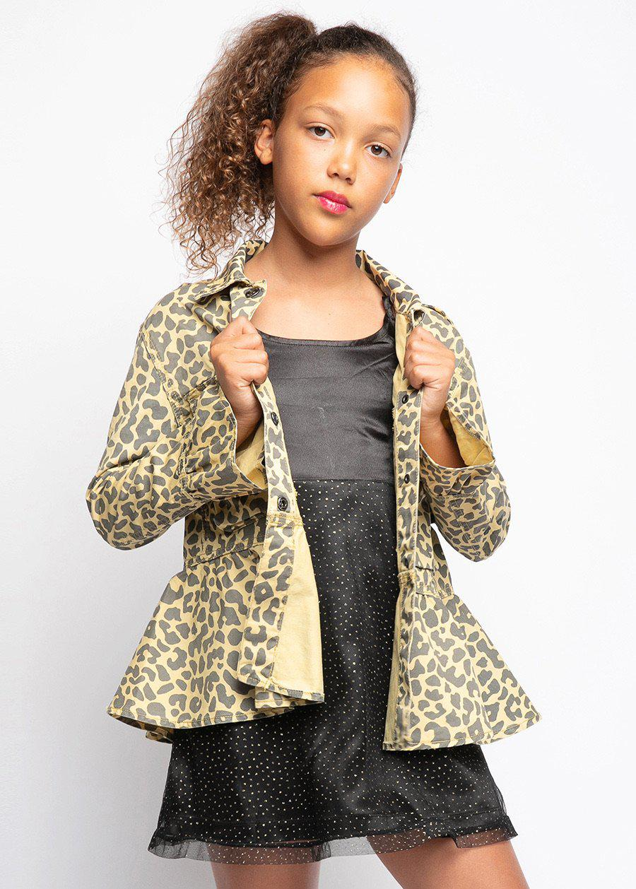 Girls Meow Leopard Print Jacket-TeenzShop
