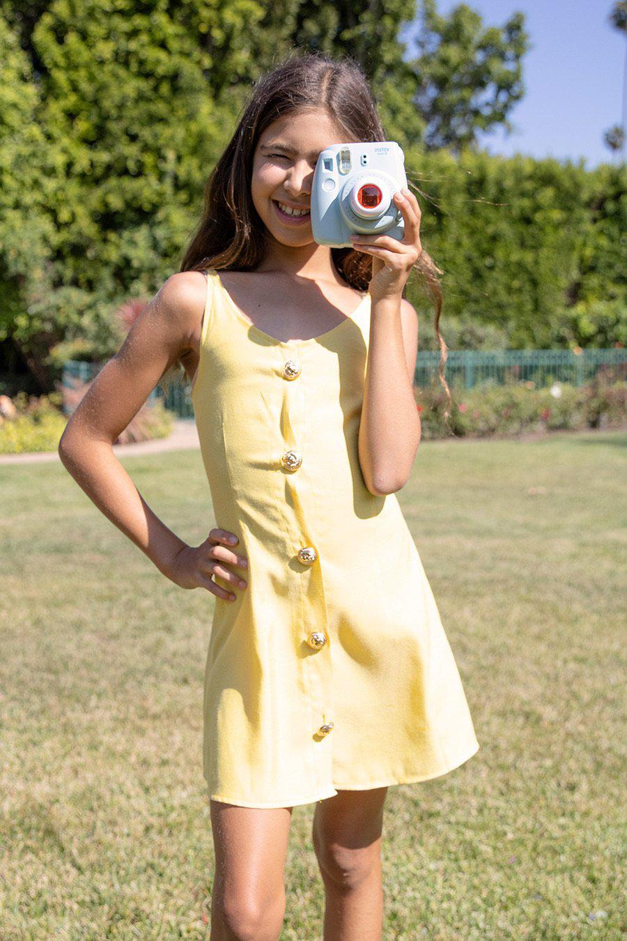 Youth Girls Yellow Button Down Dress-SUSTAINABLE FABRIC
