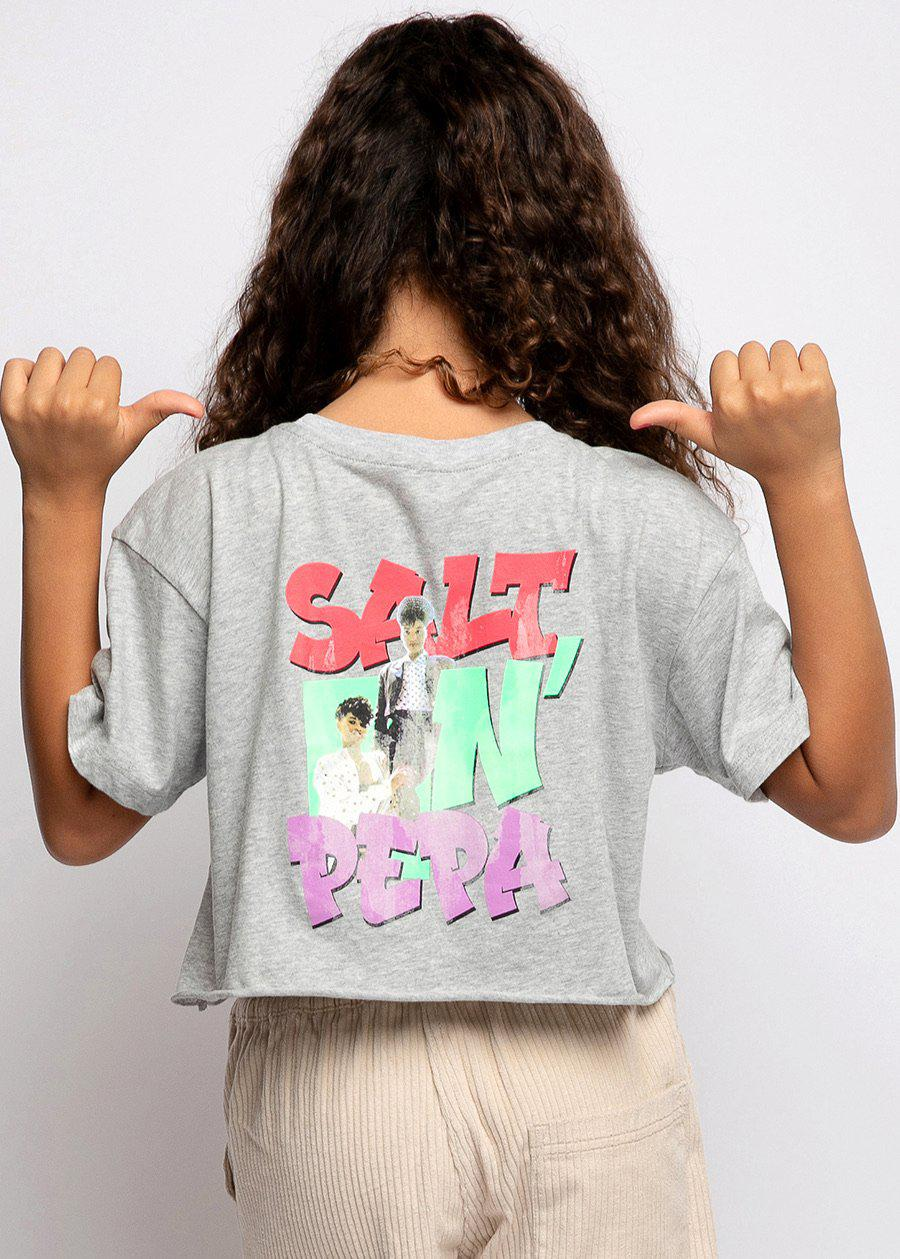 Salt-N-Pepa Grey Cropped T-shirt